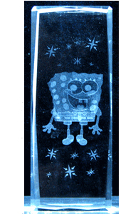 Cartoon Laser Crystal Cube - Sponge Box
